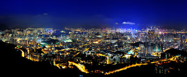 Night scenes of Hong Kong panoramic Royalty Free Stock Images