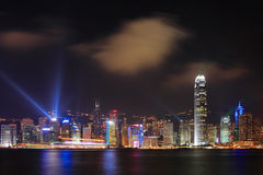 Night scenes of Hong Kong at victoria harbour Royalty Free Stock Images