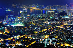 Night scenes of Kowloon & Hong Kong island. Photographed from Beacon Hill around 21:22 at night Stock Photography