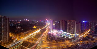 Night scenes of Modern City Stock Photography