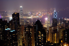 Night scenes of modern skyscraper in Hong Kong Stock Images
