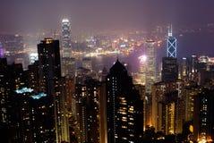 Night scenes of modern skyscraper in Hong Kong stock images