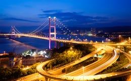 Night Scenes Of Tsing Ma Bridge In Hong Kong Stock Photos