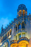 Night scenes of Old building in Barcelona Royalty Free Stock Images