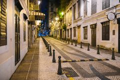 MACAO - OCTOBER 18, 2017: The old city of Macao in the city center during night time stock photography