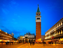 Night scenes of Piazza san marco and campanile royalty free stock image