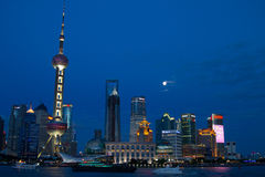 Night Scenes of PuDong District. It was taken from the HuangPu District. It was nightfall and sky was still blue Stock Photography
