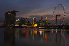 Night Scenes of Singapore Cityscape Stock Photography