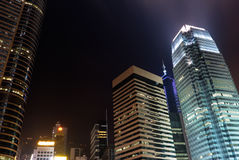 Night scenes of skyscrapers Stock Photography