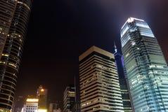 Night scenes of skyscrapers stock photography