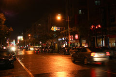 Night scenes of a street Royalty Free Stock Images