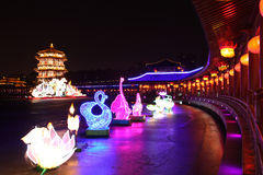 Night scenes of Tang Paradise in Xi'an(Xian),China Royalty Free Stock Photo