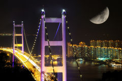 Night scenes of Tsing Ma Bridge Stock Image