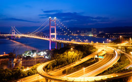 Night scenes of Tsing Ma Bridge in Hong Kong Stock Photos
