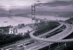 Night scenes of Tsing Ma Bridge in Hong Kong Royalty Free Stock Photos