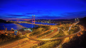 Night scenes of Tsing Ma Bridge in Hong Kong Royalty Free Stock Image