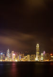 Night scenes of Victoria harbor in Hong Kong Stock Photos