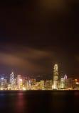 Night scenes of Victoria harbor in Hong Kong stock photos