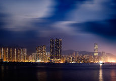 Night scenes of Victoria harbor in Hong Kong Stock Photo