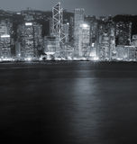 Night scenes of Victoria harbor in Hong Kong Royalty Free Stock Images