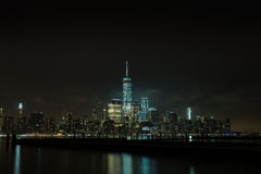 Night scenes of WTC. The World Trade Center view from riverside Stock Photography