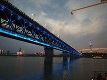 Night scenes of the Yangtze river changjiang. Night scenes of the Yangtze river ,in wuhan city, hubei province ,china.In summer people gather to the river beach stock photos