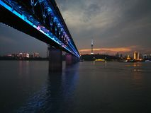 Night scenes of the Yangtze river changjiang. Night scenes of the Yangtze river ,in wuhan city, hubei province ,china.In summer people gather to the river beach stock photography