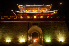 Night scenic of city gate and city wall in ancient city of Dali. Stock Images