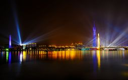 The night scenic of Liede Bridge Royalty Free Stock Image
