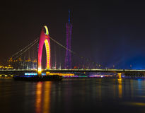 The night scenic of Liede bridge & TV tower Stock Image