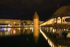 Night Scenic Lucerne, Switzerland Royalty Free Stock Photography