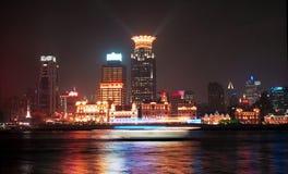 The night scenic of Shanghai. The night scenic of Huangpu River, Yangtze River of the Shanghai Section, Shanghai municipality. the scenic of Shanghai Huangpu Royalty Free Stock Image