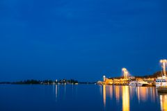 Night Scenic View Of Embankment In Helsinki, Royalty Free Stock Photos