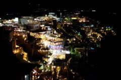 Night scenic view of Fira town Santorini Greece stock images