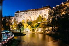 Night scenic view to castle in Cesky Krumlov Royalty Free Stock Photo
