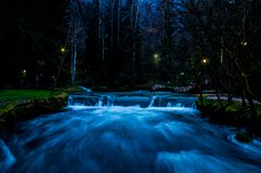 The night scenic view of Vrelo Bosne. The night scenic view of the famous and attractive park Vrelo Bosne in Bosnia and Herzegovina stock image