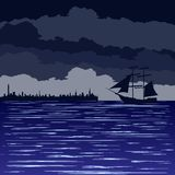 Night at sea Royalty Free Stock Photography