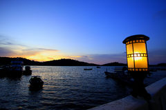 Night sea bay. With ship stock photography