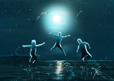 Night sea beach kids jumping vector illustration
