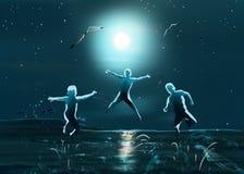 Night sea beach kids jumping Stock Image