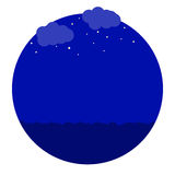 Night in the sea icon. Clouds stars and sea in the night illustration Royalty Free Stock Photography