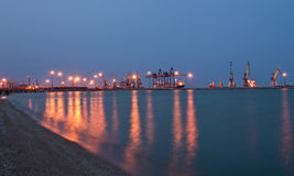 Night sea port Royalty Free Stock Image