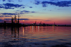 Night sea transport port Royalty Free Stock Images