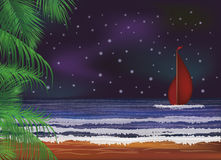 Night sea wallpaper, Scarlet sails.vector Stock Photography
