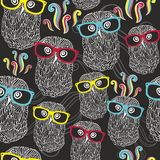 Night seamless pattern with disco owls in Royalty Free Stock Images