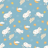 Night seamless with sheep Stock Images