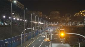 Night seaport entrance and exit of transport and trucks stock video