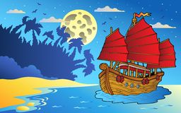 Night seascape with Chinese ship Royalty Free Stock Photos