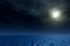 Night seascape. Magic moon in ocean. 3D night seascape. Moon in ocean. Lensflare on a picture Royalty Free Stock Images