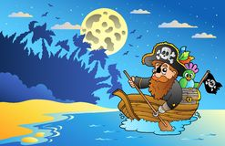 Night seascape with pirate in boat Royalty Free Stock Image